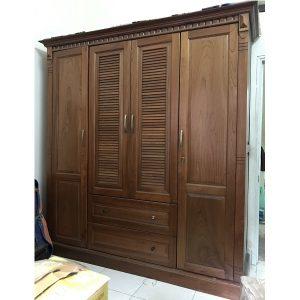 thanh lý tủ quần áo gỗ xoan đào kích thước 190x210x60cm