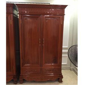 tủ quần áo 2 buồng gỗ gõ đỏ tây nguyên