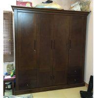 tủ quần áo 4 buồng gỗ xoan đào
