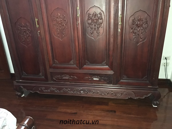 tủ quần áo gỗ gụ 4 cánh hàng đồng kỵ