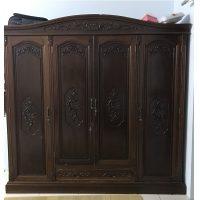 tủ quần áo gỗ gụ 4 cánh hàng vecni