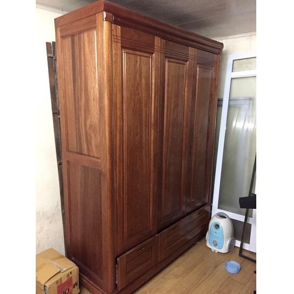 Tủ quần áo gỗ xoan đào 3 cánh kích thước 160x210x60cm