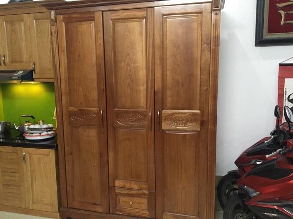 Tủ quần áo gỗ xoan đào 3 cánhTủ quần áo gỗ xoan đào 3 cánh